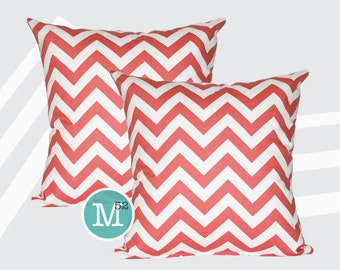 Coral Chevron Pillow Covers - 20 x 20 and More Sizes - Zipper Closure