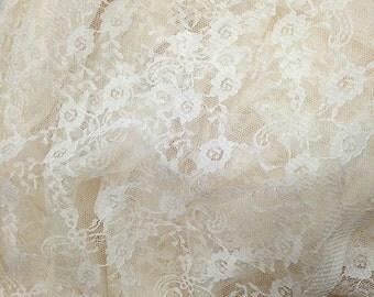 Ivory Lace Fabric, Ivory Gauze Lace Fabic, Wedding Veil, Bridal Lace, Floral Lace Fabric, Fabric by Yard