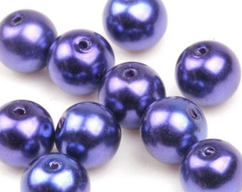 Purple Round Glass Pearls - 30 beads - 8mm (002)