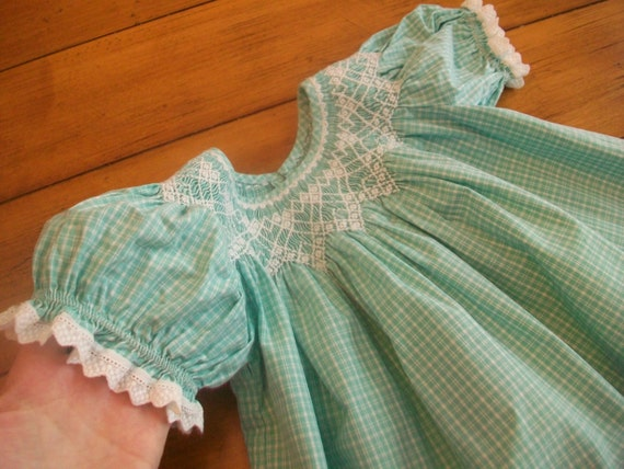 Vintage Toddler Infant Girl Gingham Embroidered Ruched Smocked