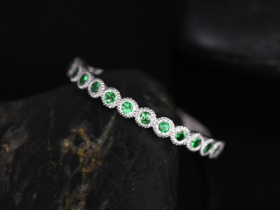 Petite Bubbles 14kt Bezel Tsavorite Green Garnet WITH Hand Milgrain Beading HALFWAY Eternity Band (Available in Diamonds and Other Metals)