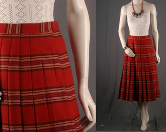 Red Pleated skirt Tartan plaid checkered striped mustard vintage school girl kilt womens size S small