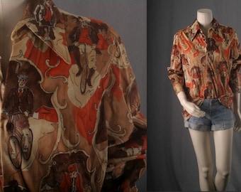 Shirt Orange Blouse top cyclist print graphic print top bohemian hippie boho men women unisex Size L large