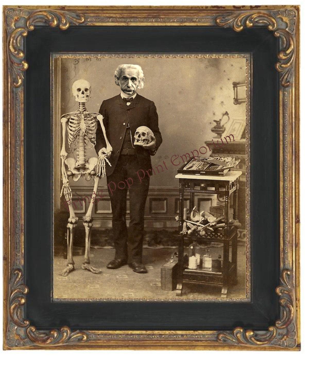 Victorian Albert Einstein Art Print 8 X 10 With Skeleton And