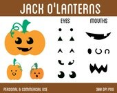 Jack O'Lanterns Clip Art - Digital Clipart for Personal & Commercial Use