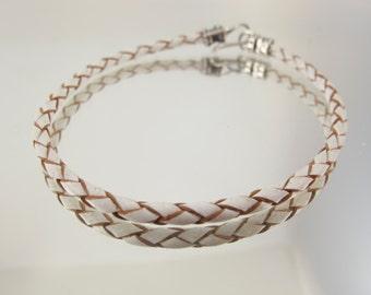Bolo Braided Leather Bracelet  White 10pk  #609