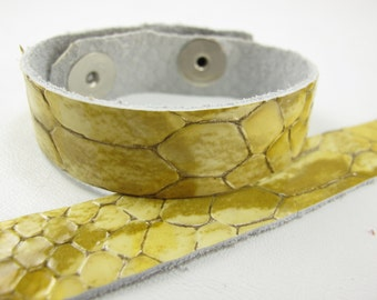 "Patent Snake Beige Leather Cuff Bracelet 5/8"" Wide, #57-85851648"