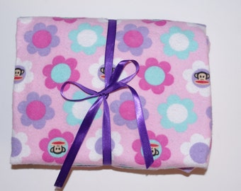 Pack n Play Sheet - Baby/Toddler Fitted Cotton Flannel Playard Sheet - Pink purple Aqua Monkey