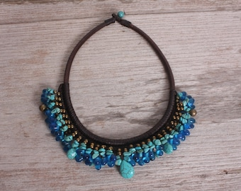 Brass-Blue Stone-Turquoise Drop Stone Necklace Handmade in Thailand FAIR Trade Wax Cotton String (N008-T)