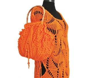 Summer Tunic,Beach Cover-up in Orange,summer bag, crochet bag,hand crochet beach