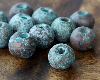 6 pcs Mykonos Ceramic Beads, Green Patina, 8mm Round Large Hole - eM8PGP