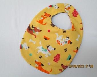 Baby Bib in dog themed fabric