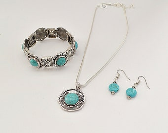 turquoise//silver set