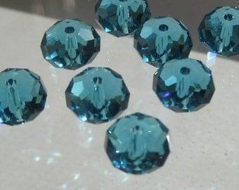 Swarovski Crystal Indicolite 8MM Rondelle Briolette Spacer Bead Art 5040