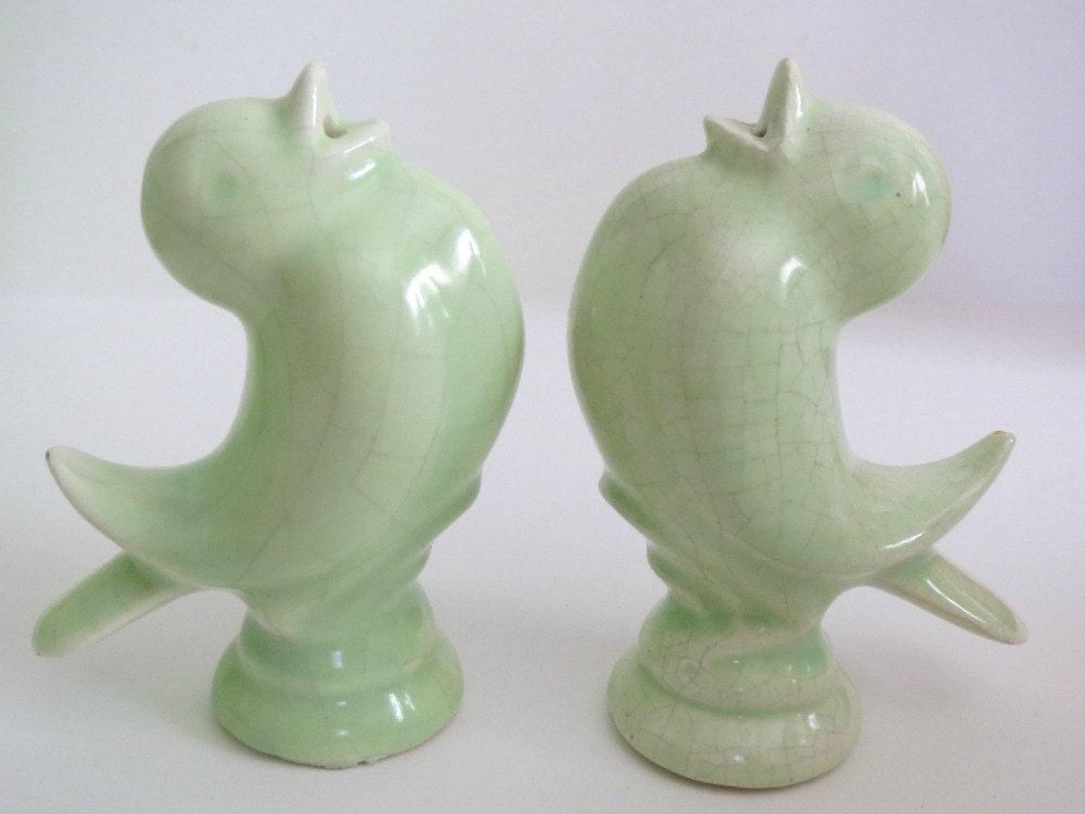 Vintage Bird Salt Pepper Shakers Softest Green Color Birds