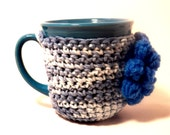 Crochet cup cozy mixed blue colors and a delft blue puff flower Mug cozy coffee cup cozy Fall colors