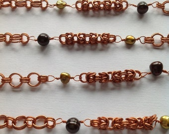 Long Copper Mixed Chain with Freshwater Pearls
