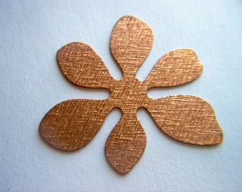 Vintage Copper Mod Large Textured Flower x 6  # J 15