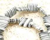 Beautiful, Flat, Rectangle, Black and White Striped Turkey Turquoise Beads (6)