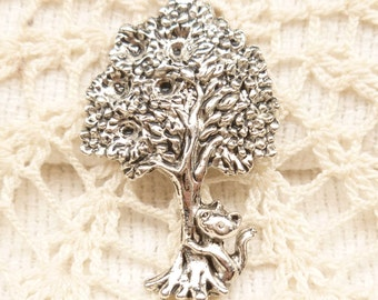 Kitty Cat Hugging Fruit Tree Charm Pendant, Antique Silver (4) - S165