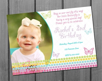 Girl Birthday Invitation and FREE Thank You Card Printable - Pink Purple Girl Butterfly Birthday Invite