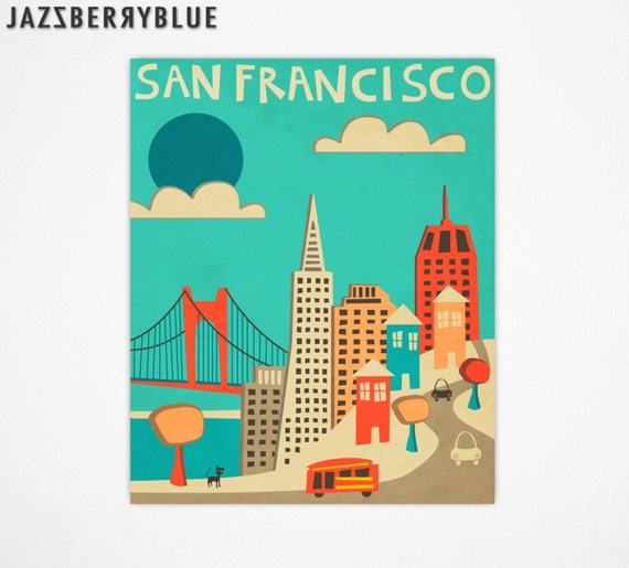 SAN FRANCISCO Travel Poster, Retro Pop Artwork, Giclee Fine Art Print, Home Decor, Wall Art (blue version)