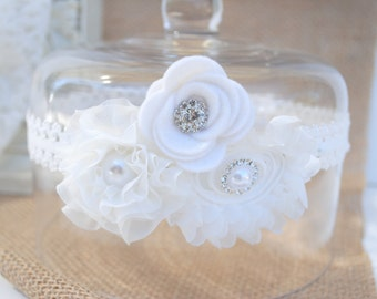 Wedding Garter, Bridal Garter, Off White Lace Garter, Keepsake Garter, Baby baptism, Christening