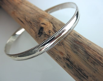 Sterling silver bangle bracelet milgrain edge - milgrain bangle bracelet - 925 solid sterling silver