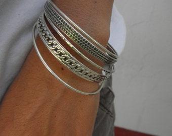 Set of 5 sterling silver bangle bracelets
