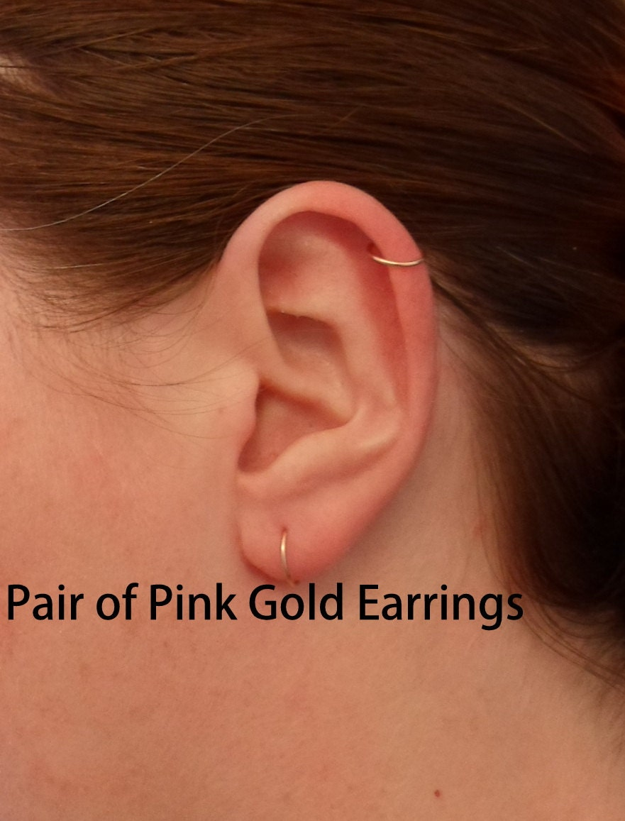 Pink Rose Gold Hoop Earrings Pair Cartilage Tragus Helix Eyebrow Nose Ring Small  Tiny Catchless Seamless