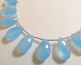 Matched Pair Light Blue Chalcedony Faceted Pear Briolettes, Approx 15x8mm, Teardrops