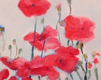 Poppies Fine Art Gift Card 4x4 inches