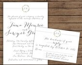 Modern Calligraphy Floral Frame Wedding Invitation, Shabby Chic with RSVP