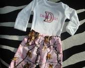 Infant Real Tree Deer Pink GIrl Camo Onesie Pants & Headband Daddy's Girl Applique Size 3-6 mos Long Sleeve