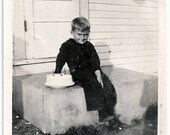 Old Photo Boy on step with His Birthday Cake 1920s Photograph snapshot vintage