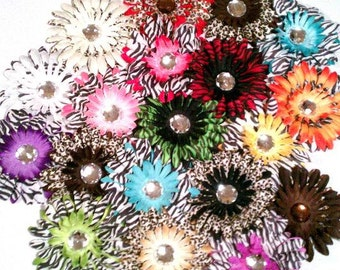"12 Mix Assorted Splash of Print Flower Heads-4"""