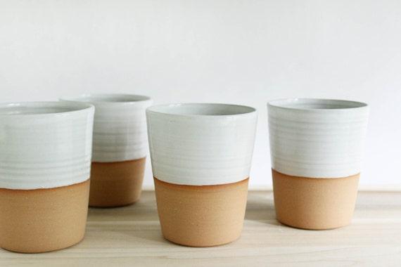 Four mugs without handles, white minimalist ceramic pottery coffee mug, tall tumbler set made in Virginia