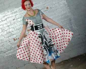 Vintage Cut 1950s Polka Dot Comic Book Dress/ Custom Dress/ 1950s Cut Dress/ Handmade Dress/ Designer Dress/ 1950s/ Vintage Cut Dress