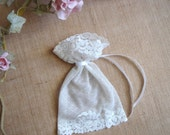 Ivory Favor Bags,Baby Shower Favor, Baby Christening Bags, Vintage Lace Favor Bags