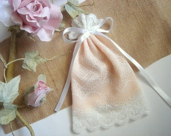 50  Favor Bags, Peach  Lace Favor Bags,Baptism lace bags