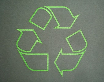 Embroidered Recycle Symbol on Military Green T-Shirt.