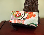 Fold over / Zipped Clutch - Vintage Kimono
