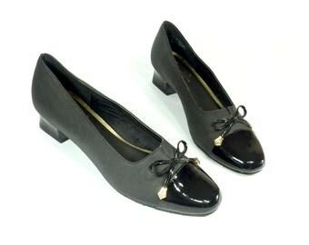 Black Cap Toe Formal Pumps 9 - Patent Bow Top Low Heels 9