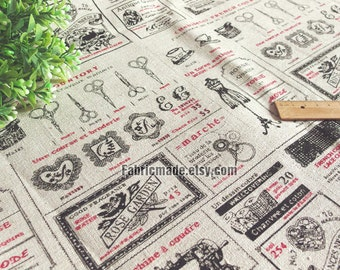 Sale- Natural Linen Burlap Fabric Beige With Vintage Scissors Sewing Machine Antique Model, Photo Background Fabric - 1/2 Yard