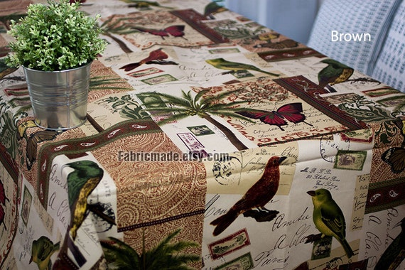 Vintage style Canvas Cotton fabric Post Card Birds Butterfly Palm Tree Home Decor Fabric - 1/2 Yard