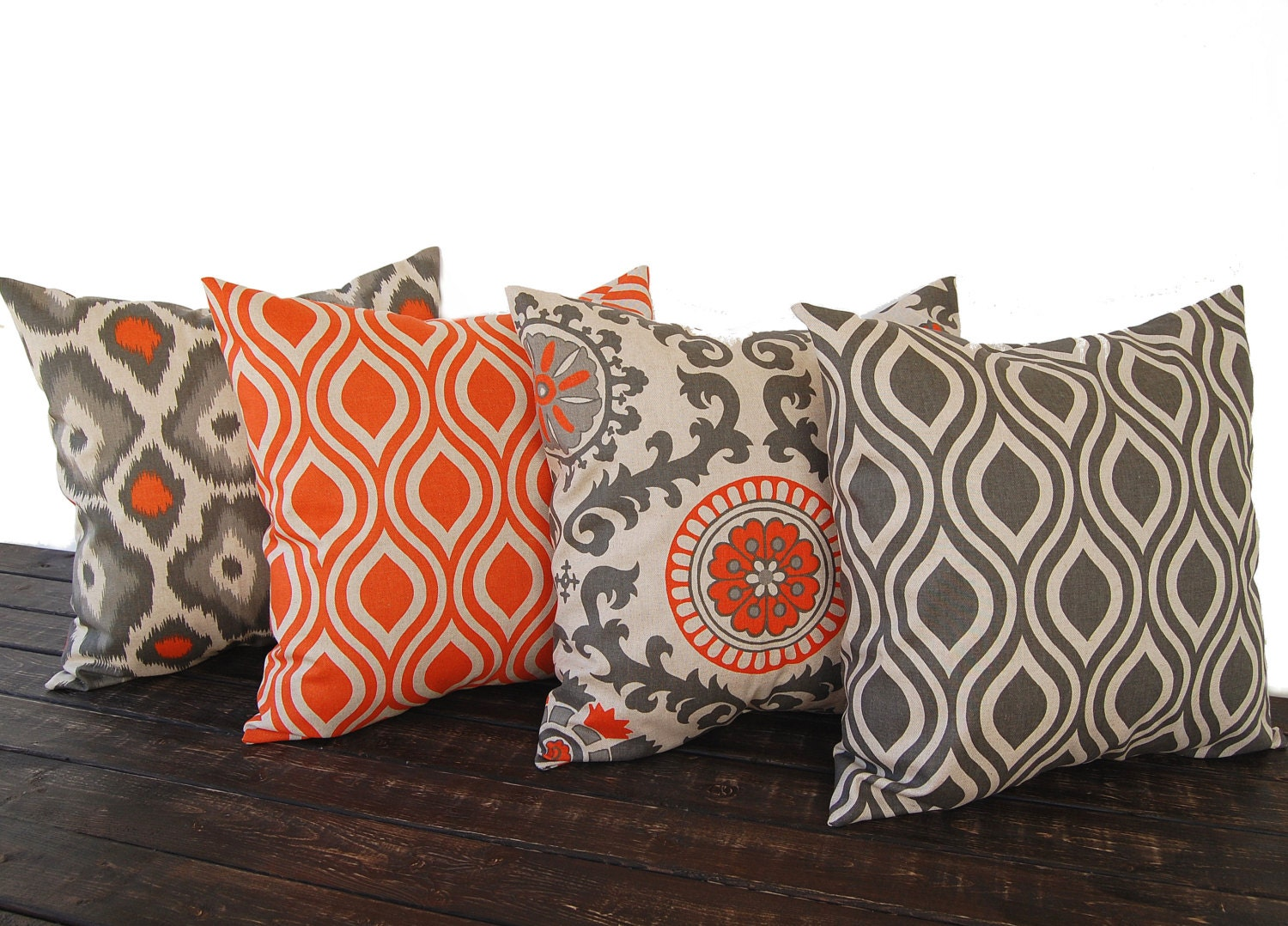 throw pillow covers 16 x 16 set of four orange by thepillowpeople. Black Bedroom Furniture Sets. Home Design Ideas