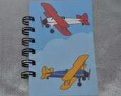 Recycled Mini Airplane Spiral Bound Notebook-Total of 12 Notebooks.