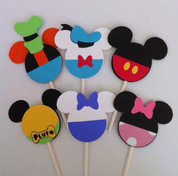Items similar to 24 Mickey Mouse Clubhouse Cupcake toppers ...