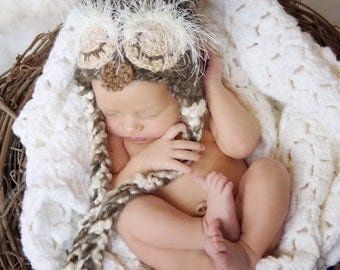 Sleepy Baby Owl Crochet Hat Brown With Ties Newborn Photo Prop