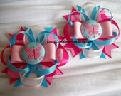 Butterfly Girls Hair bow Spring Set Pink Blue Pastel Bows